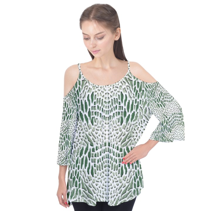 GREEN SNAKE TEXTURE Flutter Cotton Tees