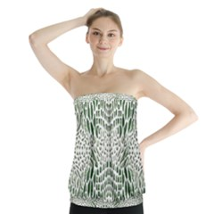 GREEN SNAKE TEXTURE Strapless Top