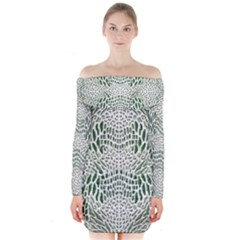 GREEN SNAKE TEXTURE Long Sleeve Off Shoulder Dress