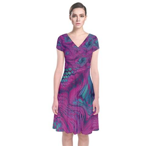 ASIA DRAGON Short Sleeve Front Wrap Dress