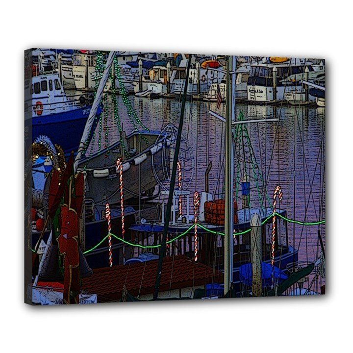 Christmas Boats In Harbor Canvas 20  x 16