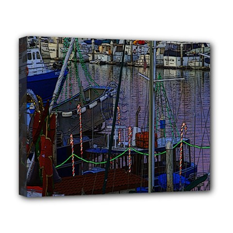 Christmas Boats In Harbor Deluxe Canvas 20  x 16