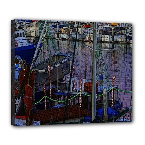 Christmas Boats In Harbor Deluxe Canvas 24  x 20