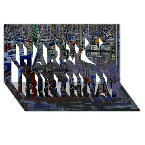 Christmas Boats In Harbor Happy Birthday 3D Greeting Card (8x4)
