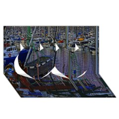 Christmas Boats In Harbor Twin Hearts 3D Greeting Card (8x4)