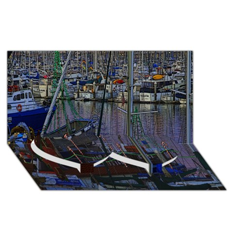 Christmas Boats In Harbor Twin Heart Bottom 3D Greeting Card (8x4)