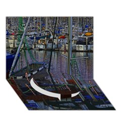 Christmas Boats In Harbor Circle Bottom 3D Greeting Card (7x5)