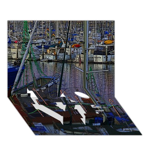 Christmas Boats In Harbor LOVE Bottom 3D Greeting Card (7x5)