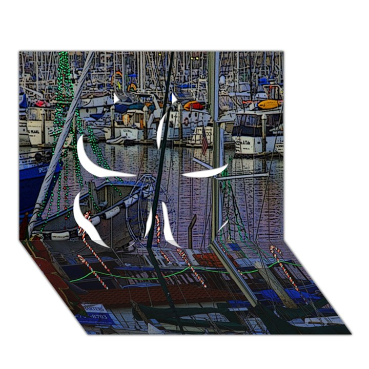 Christmas Boats In Harbor Clover 3D Greeting Card (7x5)