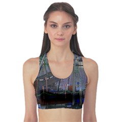 Christmas Boats In Harbor Sports Bra