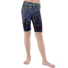 Christmas Boats In Harbor Kids  Mid Length Swim Shorts