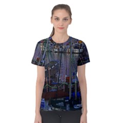 Christmas Boats In Harbor Women s Cotton Tee
