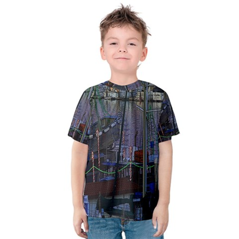 Christmas Boats In Harbor Kids  Cotton Tee