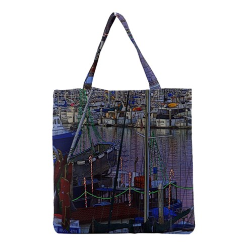 Christmas Boats In Harbor Grocery Tote Bag