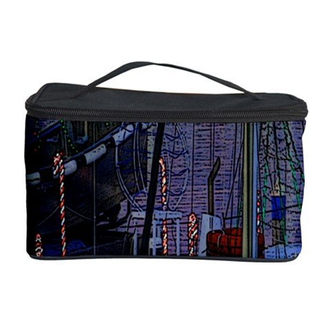 Christmas Boats In Harbor Cosmetic Storage Case