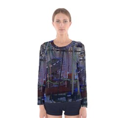 Christmas Boats In Harbor Women s Long Sleeve Tee