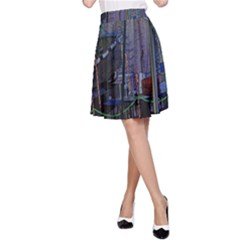 Christmas Boats In Harbor A-Line Skirt