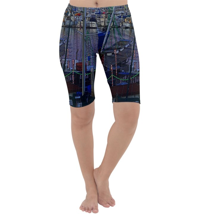 Christmas Boats In Harbor Cropped Leggings