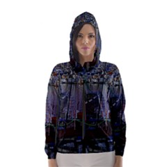 Christmas Boats In Harbor Hooded Wind Breaker (Women)