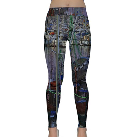 Christmas Boats In Harbor Yoga Leggings