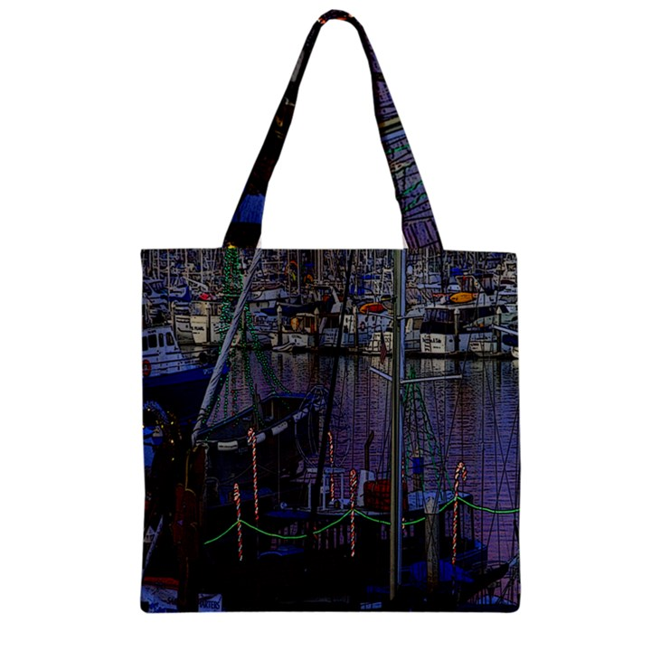 Christmas Boats In Harbor Zipper Grocery Tote Bag