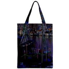Christmas Boats In Harbor Zipper Classic Tote Bag