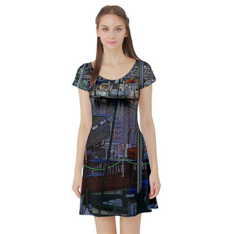 Christmas Boats In Harbor Short Sleeve Skater Dress