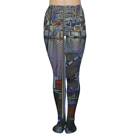 Christmas Boats In Harbor Women s Tights