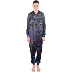 Christmas Boats In Harbor Hooded Jumpsuit (Ladies)