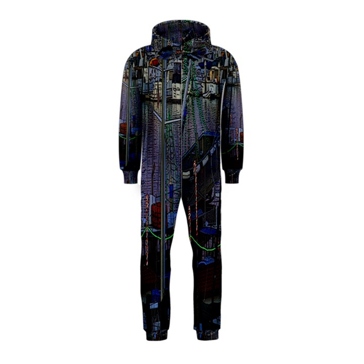 Christmas Boats In Harbor Hooded Jumpsuit (Kids)