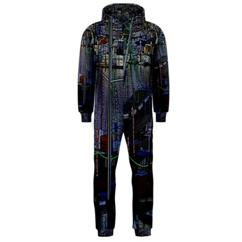 Christmas Boats In Harbor Hooded Jumpsuit (Men)