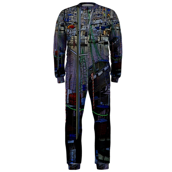Christmas Boats In Harbor OnePiece Jumpsuit (Men)