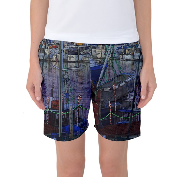 Christmas Boats In Harbor Women s Basketball Shorts