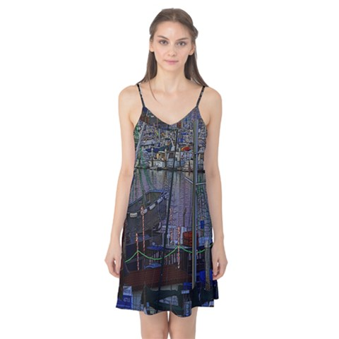 Christmas Boats In Harbor Camis Nightgown