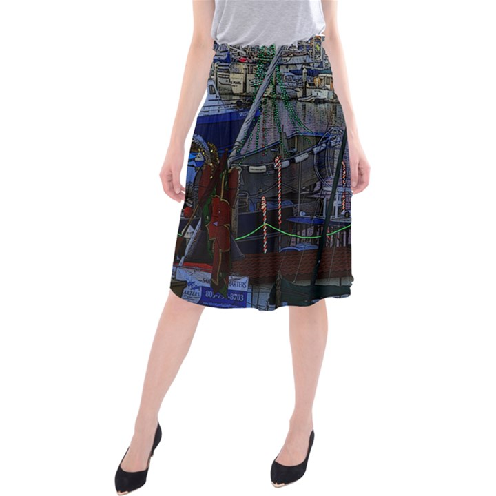 Christmas Boats In Harbor Midi Beach Skirt