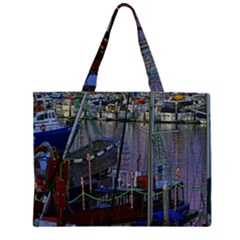 Christmas Boats In Harbor Large Tote Bag