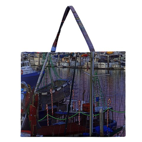 Christmas Boats In Harbor Zipper Large Tote Bag