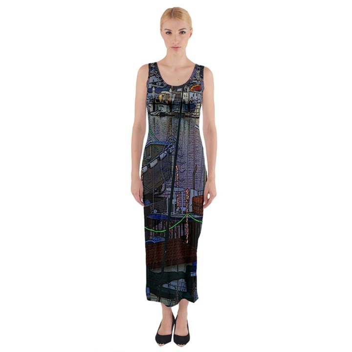 Christmas Boats In Harbor Fitted Maxi Dress