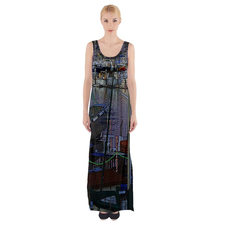 Christmas Boats In Harbor Maxi Thigh Split Dress