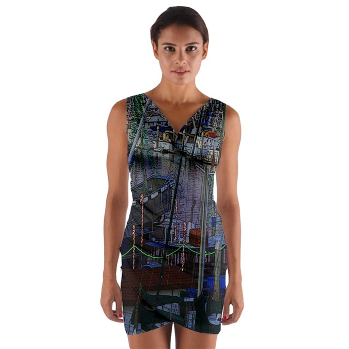 Christmas Boats In Harbor Wrap Front Bodycon Dress