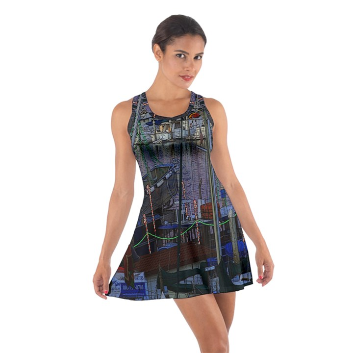 Christmas Boats In Harbor Cotton Racerback Dress