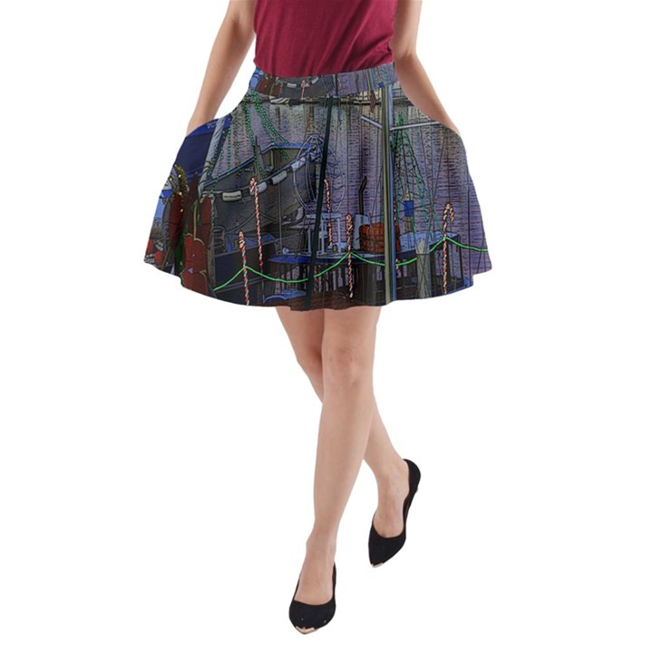 Christmas Boats In Harbor A-Line Pocket Skirt