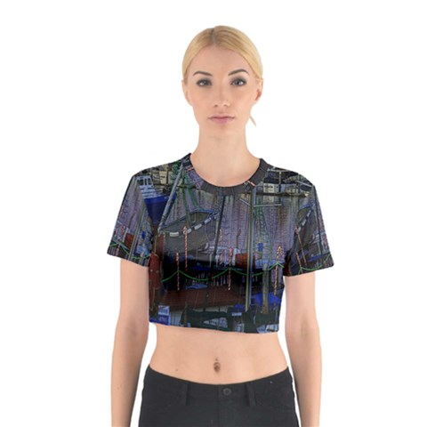 Christmas Boats In Harbor Cotton Crop Top