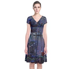Christmas Boats In Harbor Short Sleeve Front Wrap Dress