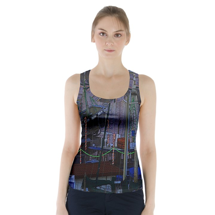 Christmas Boats In Harbor Racer Back Sports Top