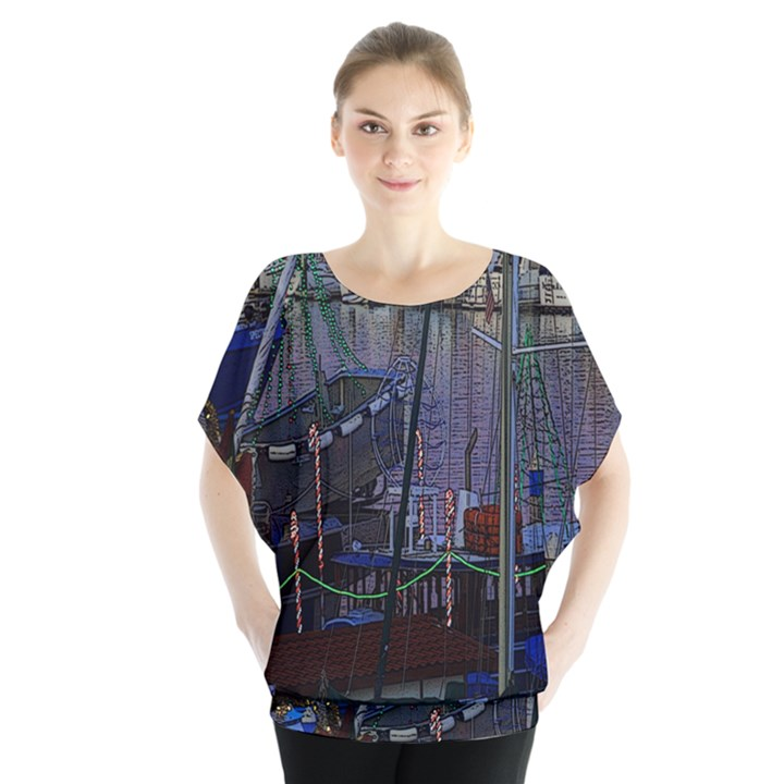Christmas Boats In Harbor Blouse