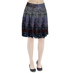Christmas Boats In Harbor Pleated Skirt