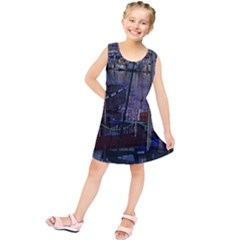 Christmas Boats In Harbor Kids  Tunic Dress