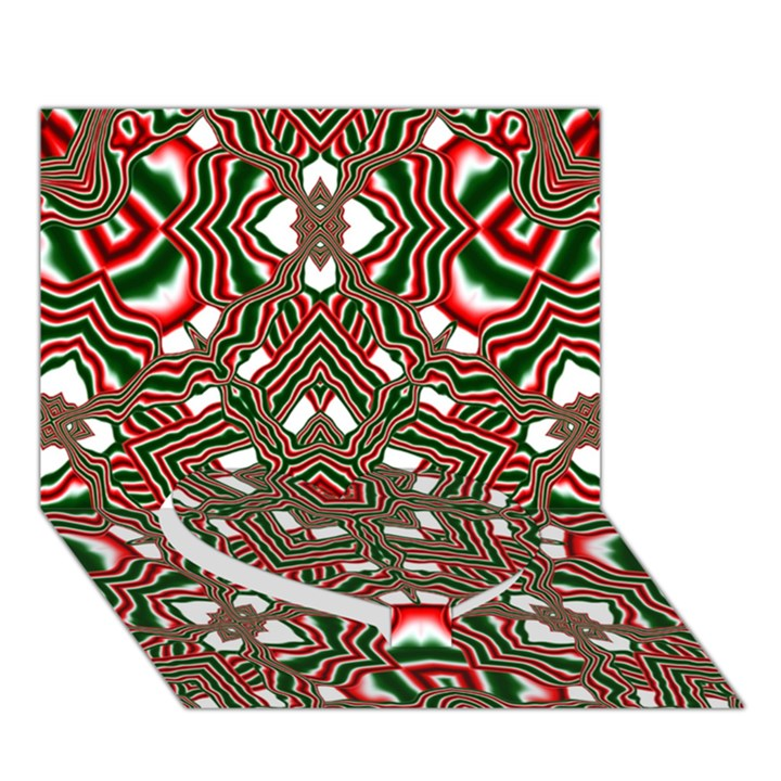 Christmas Kaleidoscope Heart Bottom 3D Greeting Card (7x5)