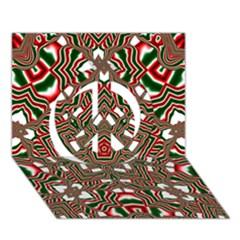 Christmas Kaleidoscope Peace Sign 3D Greeting Card (7x5)